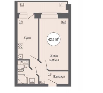 """Однокомнатная квартира в ЖК """"Юность"""" 42,6 кв.м - Фото 3"""
