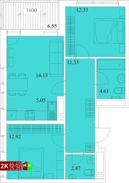 Продажа двухкомнатная квартира 64.40м2 в ЖК Квартал Новаторов секция ж - Фото 1