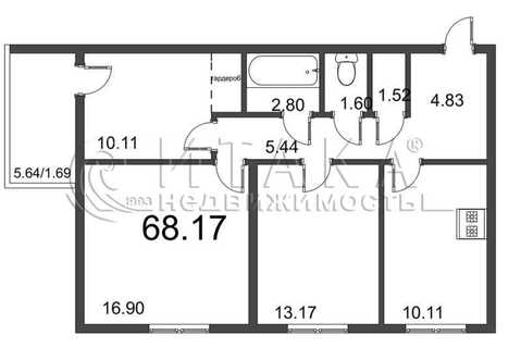 Объявление №49017424: Квартира 3 комн. Колпино, ул. Понтонная, д. 1,