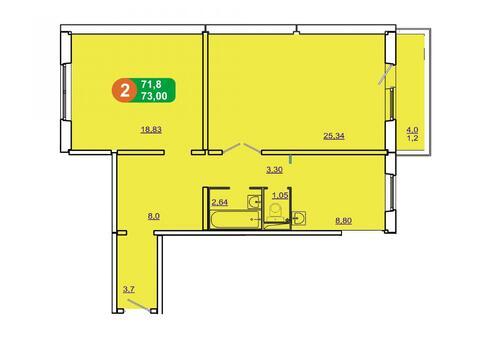 2-комн ул.Солнечная 41, площадью 73 кв.м, панельный дом