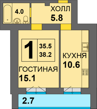 1-комнатная в ЖК Дадаевский - Фото 2