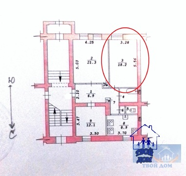 Продам комнату 18 кв.м, доля в 3-к квартире, Новосибирск, Ползунова, 3 - Фото 3