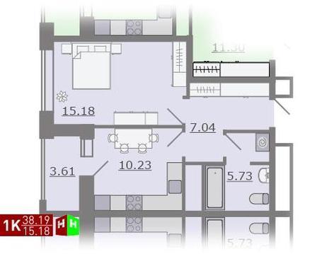 Продажа однокомнатная квартира 38.19м2 в ЖК Каменный ручей гп-2 - Фото 1