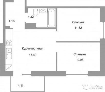 2-к квартира, 50 м, 8/16 эт. - Фото 1
