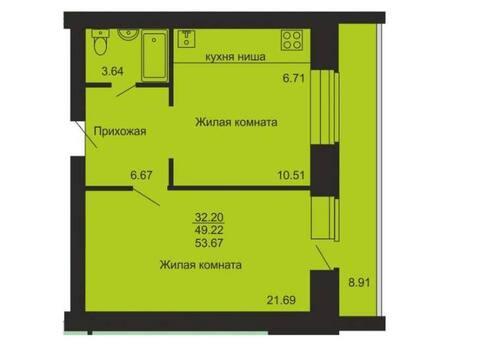 Продажа двухкомнатной квартиры на улице Сурикова, 37 в Кирове, Купить квартиру в Кирове по недорогой цене, ID объекта - 319841250 - Фото 1