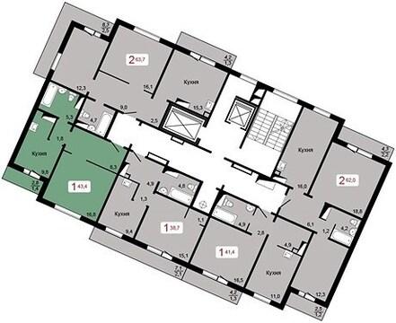 "Продам 1-комн. квартиру 43,4 кв.м. в ЖК""Курчатова""дом 6, стр.1 2240т.р - Фото 1"