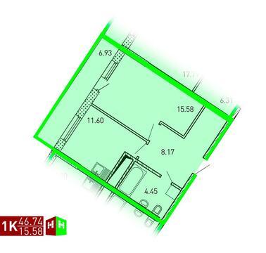 Продажа однокомнатная квартира 46.74м2 в ЖК Рощинский дом 7.2. секция . - Фото 1