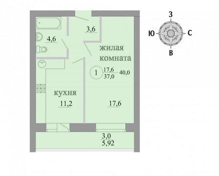 Продажа 1-комнатной квартиры, 40 м2, Березниковский переулок, д. 34 - Фото 1