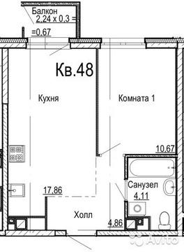 1-к квартира, 37 м, 11/17 эт. - Фото 1