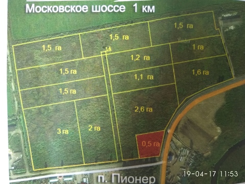 Продается земля от 1га, п. Пионер, Тосненский р-н, 18км до КАД - Фото 1