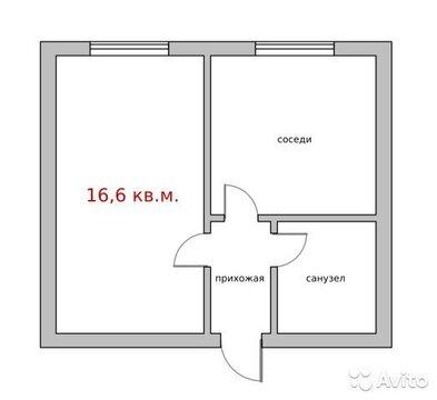 Комната 16.6 м в 2-к, 8/9 эт. - Фото 2