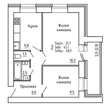 Продажа 2-комнатной квартиры, 64.3 м2, Пугачёва, д. 29а, к. корпус А - Фото 4