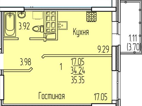 1-комнатная квартира 35 кв.м. 6/11 кирп на ул. Рауиса Гареева, д.102к2 - Фото 1