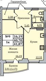 Продам квартиру 40.8 кв.м, Дом сдан, введен в эксплуатацию. Отделка . - Фото 1