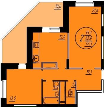 Продается 2 комнатная квартира, Купить квартиру в новостройке от застройщика в Железнодорожном, ID объекта - 320267033 - Фото 1