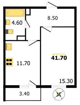 Однокомнатная квартира на Проспекте Строителей, в нов.доме, - Фото 2