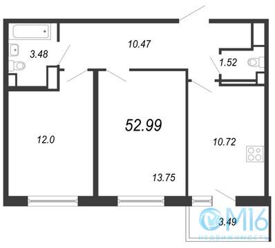 Продажа 2-комнатной квартиры, 52.99 м2 - Фото 2