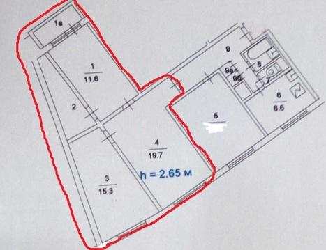 Продам комнату в 4-к квартире, Москва г, Елецкая улица 22/25 - Фото 1