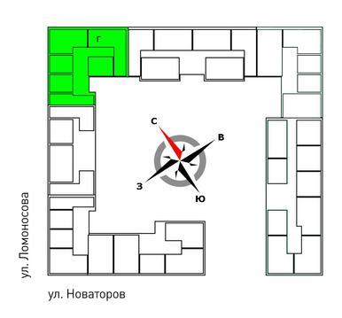 Продажа двухкомнатная квартира 61.30м2 в ЖК Квартал Новаторов секция г - Фото 2