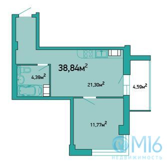 Продажа 1-комнатной квартиры, 38.84 м2 - Фото 2