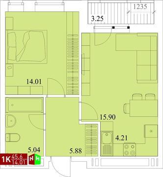 Продажа однокомнатная квартира 45.6м2 в ЖК Квартал Новаторов секция ж - Фото 1