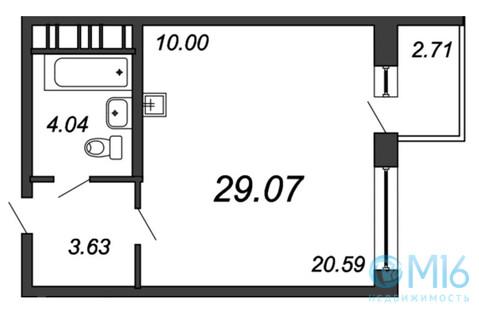Продажа студии, 29.07 м2, Воронцовский б-р, к. 3, к. к. 3 - Фото 1