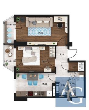 2 комнатная квартира 58 м2 в ЖК «Гагаринские высотки» - Фото 2