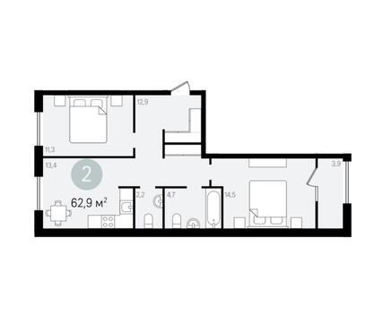 2-комнатная квартира 62,9 кв.м г.Видное - Фото 1