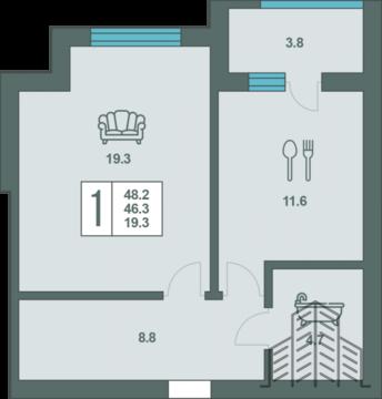 Элитная однокомнатная квартира 48,2 м2 в Централном районе - Фото 3