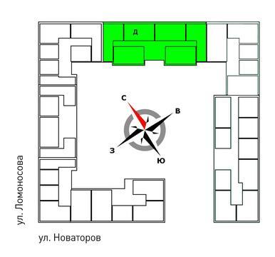 Продажа двухкомнатная квартира 65.80м2 в ЖК Квартал Новаторов секция д - Фото 2