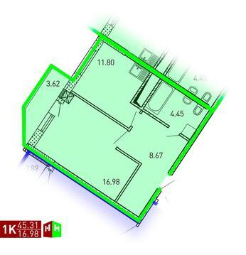 Продажа однокомнатная квартира 45.31м2 в ЖК Рощинский дом 7.2. секция . - Фото 1