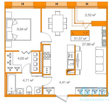 Продажа 1-комнатной квартиры, 51.57 м2 - Фото 2