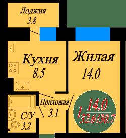 1к.квартира в Новом городе в строящемся доме, степень готовности 90%. - Фото 2