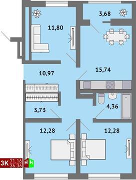 Продажа трехкомнатная квартира 71.16м2 в ЖК Солнечный гп-1, секция к - Фото 1