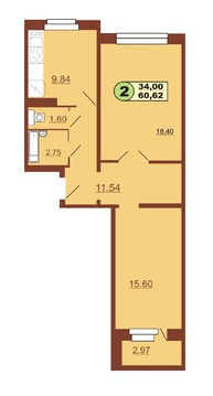Сдается 2-х комнатная ул.Ленинского Комсомола д.37, площадью 60 кв.м. - Фото 1
