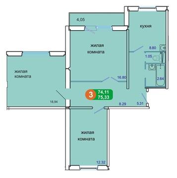 Продам 3-комн ул.Солнечная 41 в новом панельном доме площадью 74 кв.м.