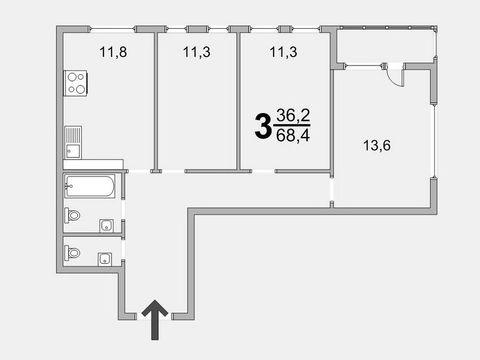 Обмен 3 комн. квартиры 68 кв.м. в новом доме Зеленограда - Фото 1