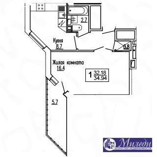 Объявление №61449623: Квартира 1 комн. Батайск, ул. Огородняя, 1005,