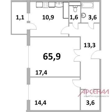 "2-х комнатная квартира ЖК ""Центр+"" г. Железнодорожный - Фото 4"