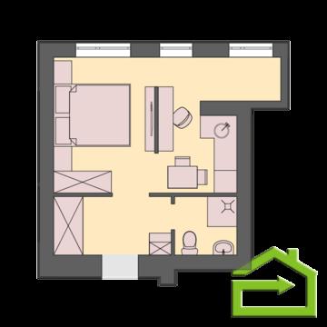 Однокомнатная квартира-студия 27 кв.м. - Фото 3