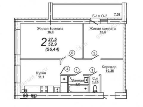 1 969 000 Руб., Продажа двухкомнатной квартиры в новостройке на Центральной улице, 7 в ., Купить квартиру в Кирове по недорогой цене, ID объекта - 319841213 - Фото 1