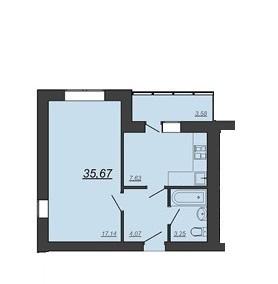 1-к Квартира 35,67 м2, ул. Глазкова, 22 - Фото 2