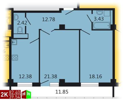 8 023 523 Руб., Продажа двухкомнатная квартира 82.40м2 в ЖК Дипломат, Купить квартиру в Екатеринбурге по недорогой цене, ID объекта - 315127683 - Фото 1
