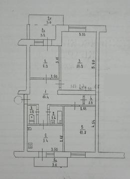 3-х комнатная, 3 этаж - Фото 2