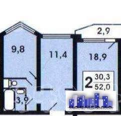2-х комнатная квартира в п Голубое - Фото 4