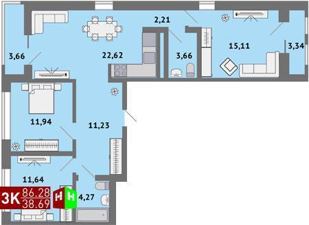 4 870 000 Руб., Продажа трехкомнатная квартира 86.28м2 в ЖК Солнечный гп-1, секция ж, Купить квартиру в Екатеринбурге по недорогой цене, ID объекта - 315127820 - Фото 1