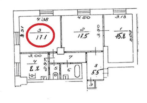 Продается комната 17 м2 в 3 ком.кв. - Фото 3