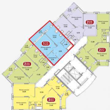Однокомнатная квартира в мкр.Радужный, Купить квартиру в новостройке от застройщика в Чебоксарах, ID объекта - 325489390 - Фото 1