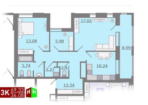 Продажа трехкомнатная квартира 69.33м2 в ЖК Каменный ручей гп-4 - Фото 1