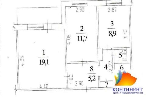 Цена за двухкомнатную квартиру 52 кв/м ул. Институтская 12б - Фото 1